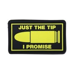 "Velcro märk ""Just The Tip"" must/kollane"