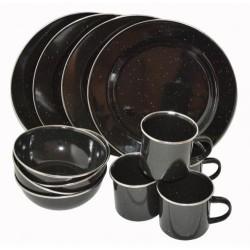 AB 12-Parts Enamel Mess kit for 4 person, black