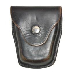 Leather handcuff bag, black