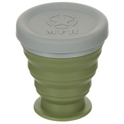 Чашка складная, с крышкой, силикон, 200мл, зеленая