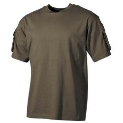 US T-särk oliivroheline, taskud käistel