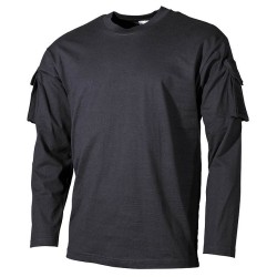 US футболка черный, с рукавом карманы