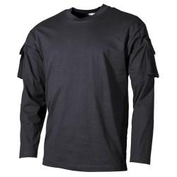 US T-särk must taskud käistel, pikk