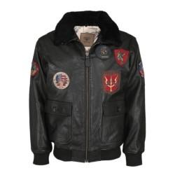 """Куртка летная кожаная """"Top Gun"""", черная"""