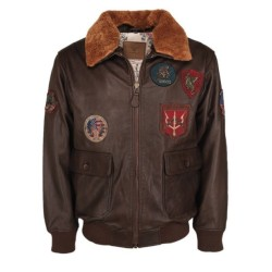 """Куртка летная кожаная """"Top Gun"""", коричневый"""