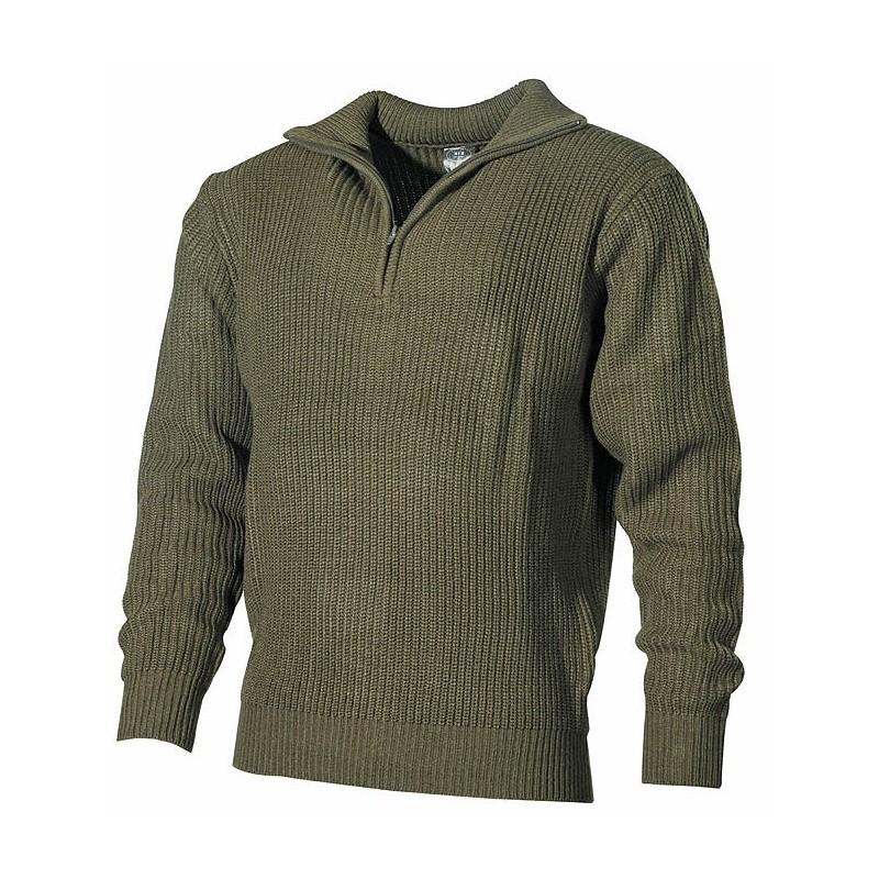 Navy Sweater, acrylic, OD green