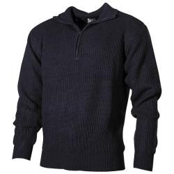 Navy Sweater, acrylic, blue