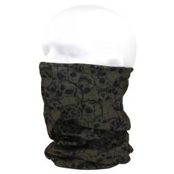 101Inc Coolmax tubular scarf with skull, green