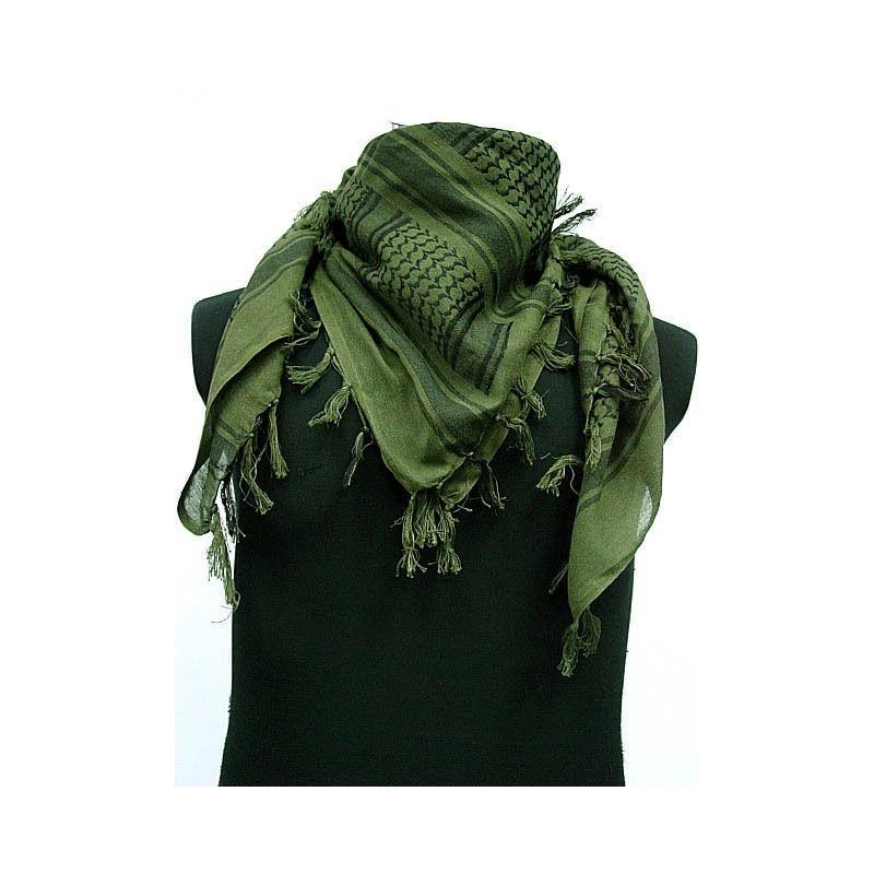 Shemagh (шарф), OD зеленый-черный, с бахромой
