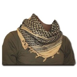 Shemagh (шарф), песчано-черный, с бахромой