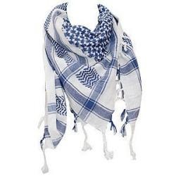 Shemagh (шарф), сине-белый, с бахромой