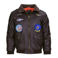 Kids PU leather flight jacket, brown