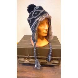 "Hat, ""Peru Piura"", with fur, black/grey"
