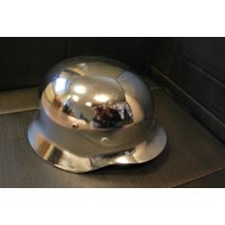 Немецкий стальной шлем, WW II, хром, кожаная подкладка