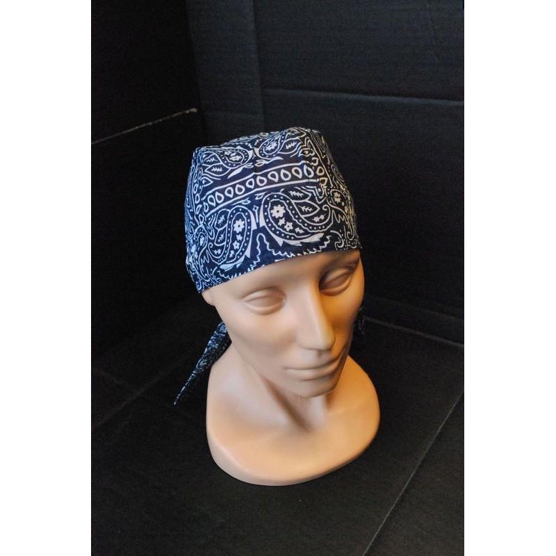 Headwrap, paisley-navy blue