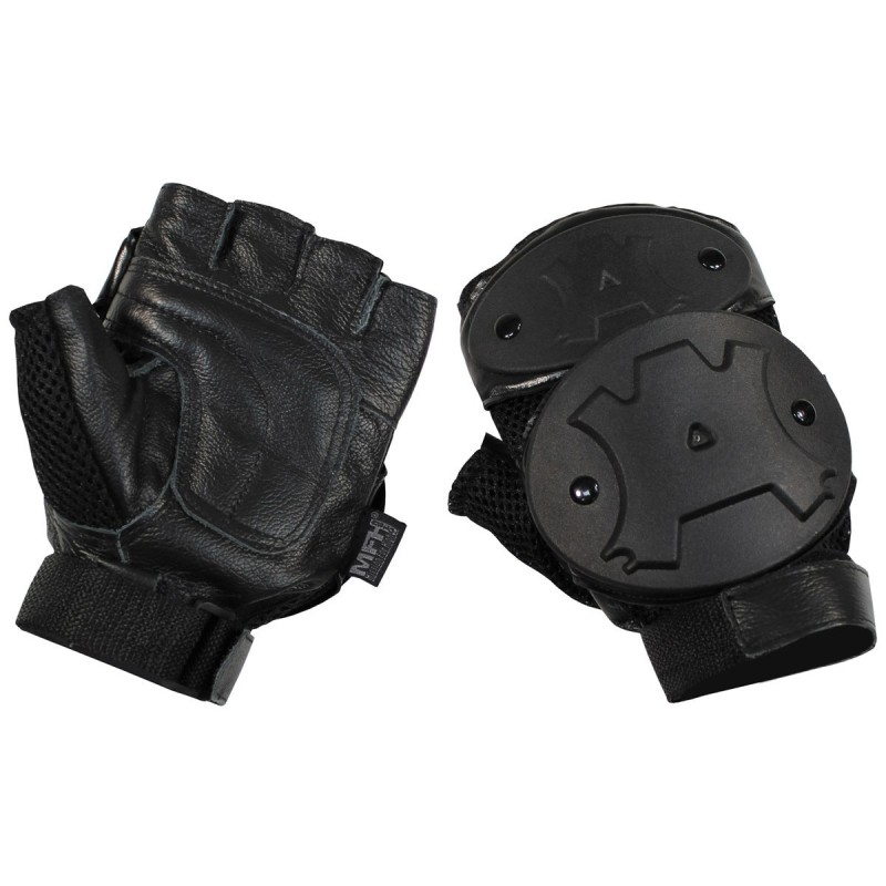 Gloves, fingerless, knuckles protection, black