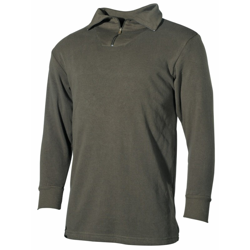 Bundeswehr Tricot shirt with zipper, OD green