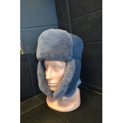 Зимняя шапка с натуральным мехом, серый