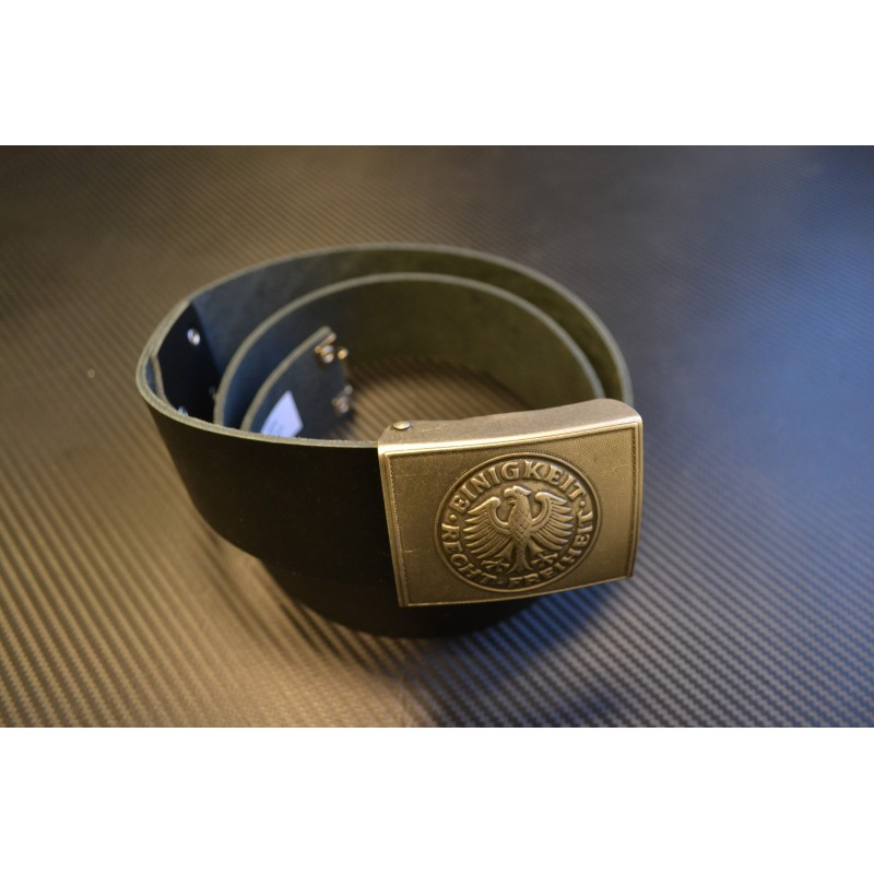 German Bundeswehr leather belt with buckle, black