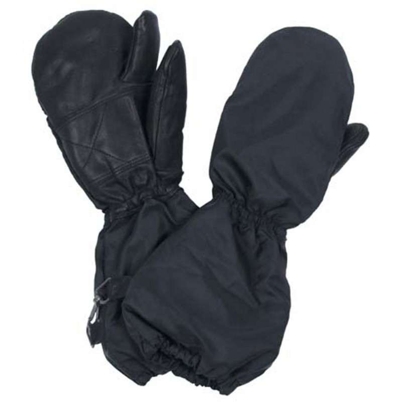 Swiss mittens, 3 finger, lined, black