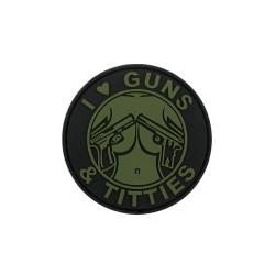 "Липучка знак, 3D ""Guns and titties"", зеленый"