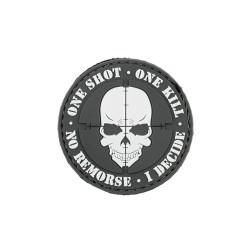 "Липучка знак, 3D ""One shot, One kill"", черный"