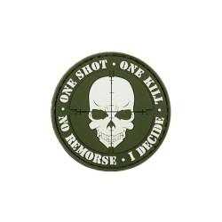 "Липучка знак, 3D ""One shot, One kill"", зеленый"