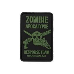 """Velcro sign, """"Zombie Apocalypse"""" 3D, black"""