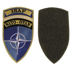"""Riidest embleem, NATO-OTAN """"ISAF"""", värviline"""