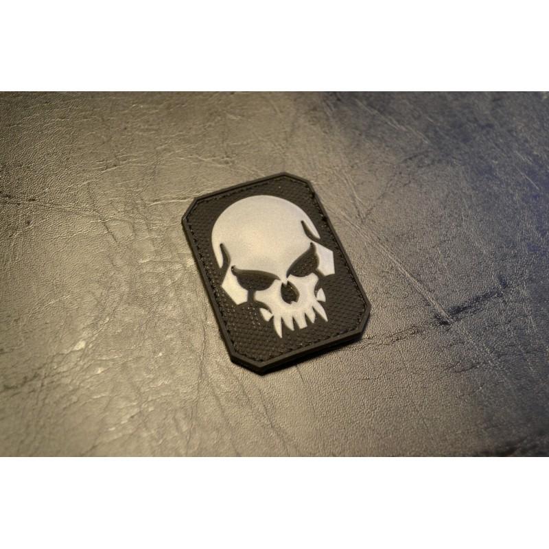 """Velcro märk Skull - pealuu"""" 3D, väike, must"""