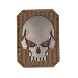Velcro märk Skull - pealuu 3D, väike, dark coyote