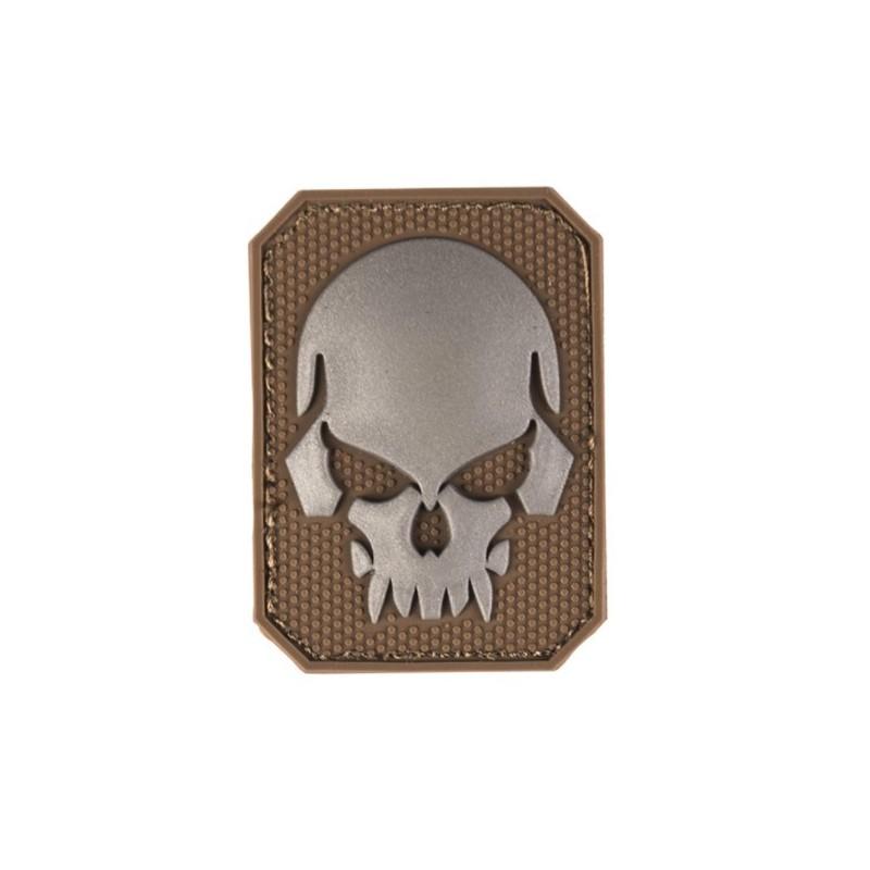 Velcro märk Skull - pealuu 3D, väike, coyote