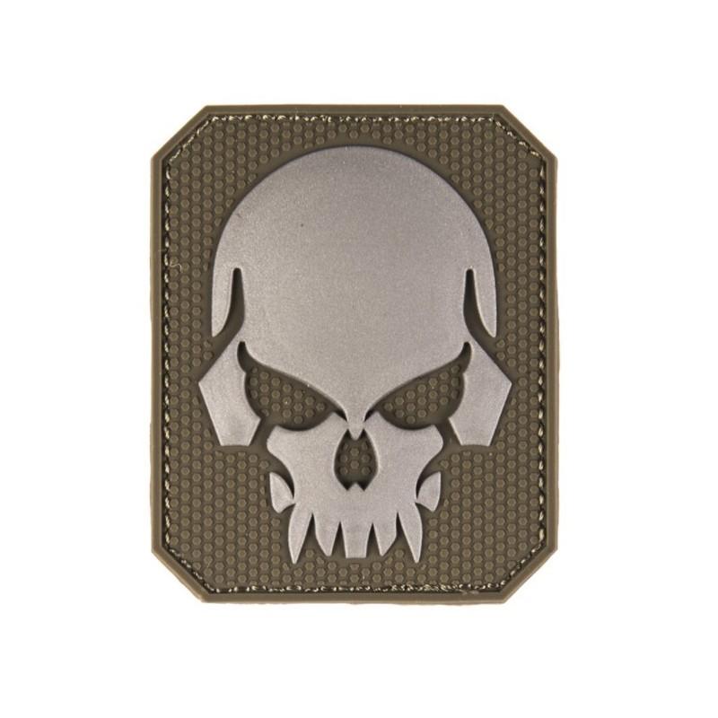 """Velcro märk Skull - pealuu"""" 3D, oliivroheline"""