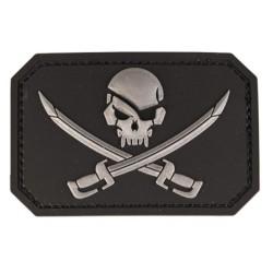 "Velcro sign, ""Skull with swords"" 3D, black"