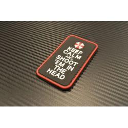 "Velcro märk ""Keep Calm and shoot"" 3D, must/valge/punane"