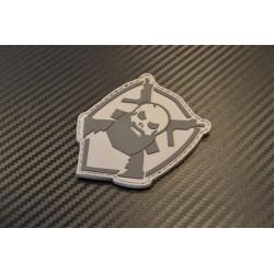 """Velcro sign, """"Bearded Skull"""" 3D, grey"""