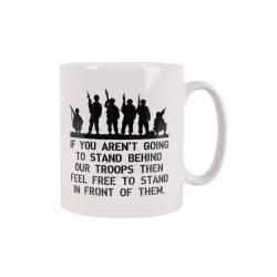 "Ceramic mug ""Behind Troops"", white"