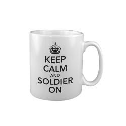 "Ceramic mug ""Keep Calm & Soldier On"", white"