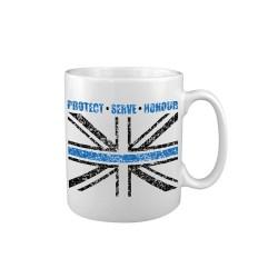 "Ceramic mug ""Thin Blue Line"", white"