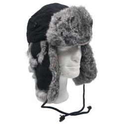 Меховая шапка, черный, ж / серый мех кролика