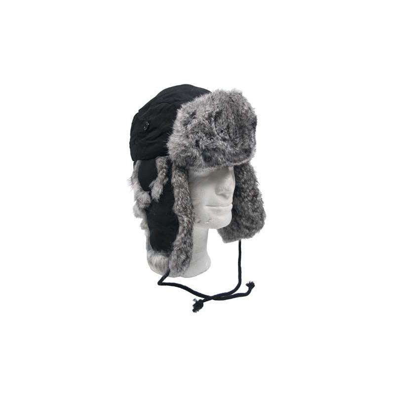 Fur Hat, black, w/grey rabbit fur