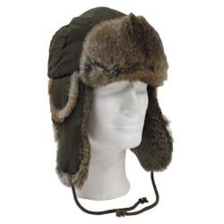 Меховая шапка, OD зеленый, ж / коричневый мех кролика
