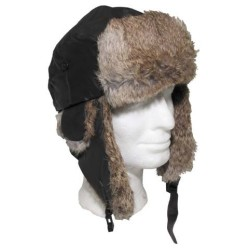 Nahast, karvane talvemüts, pruun