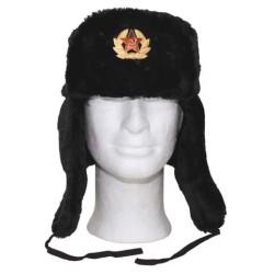 Русский Мех крышки зимы, черный, с значком