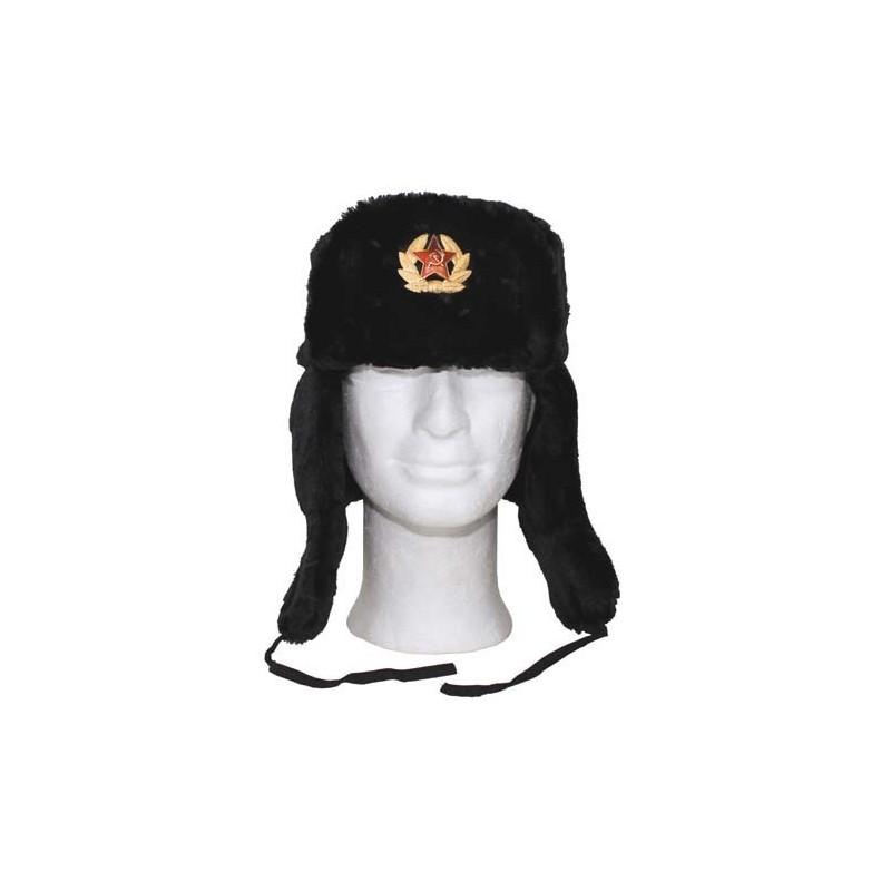 Russian Fur Winter Cap, black, with badge