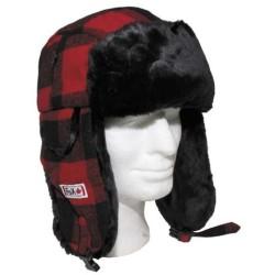 Меховая шапка, лесоруб, красный / черный