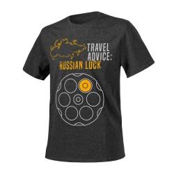 "Футболка ""Travel Advice: Russian Luck"", Melange Black-Grey"