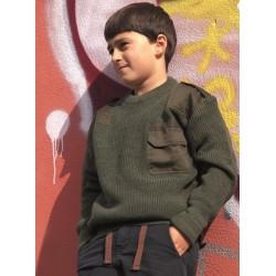 Kids Commando sweater, olive green