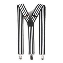 Traksid pükstele, klambritega, must/valge